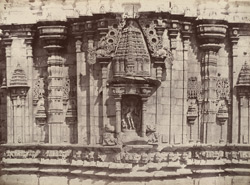 Kirwuttee. A temple. [Sculptured facade of the temple at Kuruvatti, with central figure in niche.]